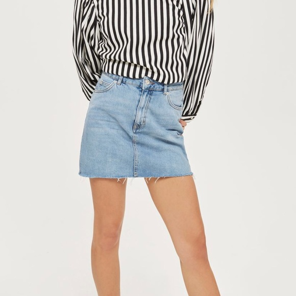 3ec4350600 Topshop Skirts | Top Shop Moto Denim Mini Skirt | Poshmark